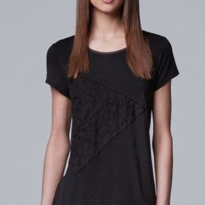 Simply Vera Wang Black Pieced Lace Tee NWOT